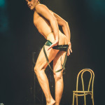 Mr. Gorgeous performing at the 2015 Toronto Burlesque Festival teaser show, Crystal Menagerie