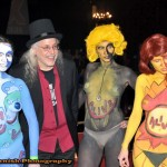 Three ladies and a gent, with fabulous full body paint work on the ladies, at the Coney Island USA 2013 Spring Gala.