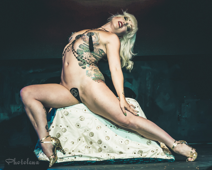 Peekaboo Pointe performing at the New York Burlesque Festival 2015 Sunday night Golden Pasties awards show at Highline Ballroom.