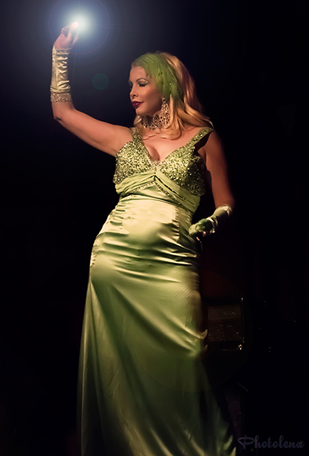 Bambi LaFleur performs in gorgeous satin green dress at Baker's Dirty Dozen show, at El Mocambo Tavern, part of Toronto's annual burlesque mega-showcase, Girlesque.
