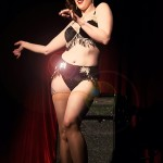 Esther DeVille performs in black bra and panties with fringe at Baker's Dirty Dozen show, at El Mocambo Tavern, part of Toronto's annual burlesque mega-showcase, Girlesque.