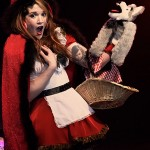 Mena von Fleisch does a Little Red Riding Hood act with wolf hand puppet at the Toronto burlesque show, Girlesque.