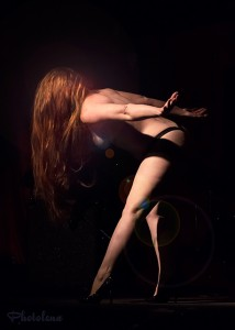 Scarlett Letter, almost nude, lets down her glorious super long red hair at Toronto burlesque show, Girlesque.