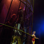 performers onstage and in giant prop cage at the premiere Prague Burlesque Show
