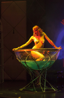 martini glass number at the premiere Prague Burlesque Show