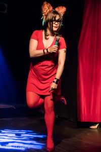 Reddy performing at Nerd Girl Burlesque's Video Game Burlesque Tribute Show, Toronto.