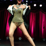 Rita Lynch performing at the New York Burlesque Festival 2015 Friday night premiere party at Brooklyn Bowl.