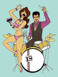 Illustration of musician Ronnie Magri with a burlesque performer, by Charlene Lanzel