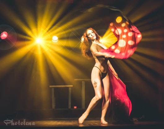 Rubie Magnitude performing at the Bad Girls of History burlesque show in Toronto.