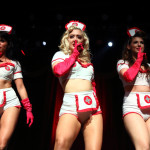 The Ruby Review performing at the New York Burlesque Festival 2015 Friday night premiere party at Brooklyn Bowl.