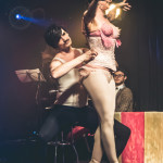 Sauci Calla Horra and Dew Lily performing at Skin Tight Outta Sight Rebel Burlesque's 2017 Voulez-Vous Valentine show at Revival bar in Toronto.
