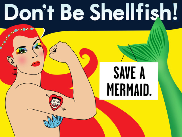 """Graphic image of a redheaded mermaid with a Coney Island USA tattoo that says """"Don't Be Shellfish! Save A Mermaid."""", in a plea for funds for the Coney Island Mermaid Parade."""