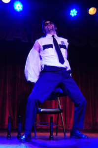 Stache Novak performing at the 2013 Wasabassco Burlesque Ninth Anniversary Show