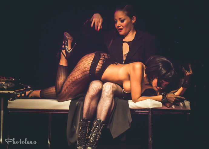 Suki Tsunami and Coco Framboise performing at the 2015 Toronto Burlesque Festival teaser show, Crystal Menagerie