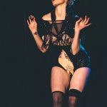 Svetlana Konswallow performing at the 2015 Toronto Burlesque Festival teaser show, Crystal Menagerie