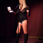 Penthouse Pet Tasha Reign reading Penthouse Forum onstage at Bedroom Burlesque: A Penthouse Forum Release Party With The New York School of Burlesque