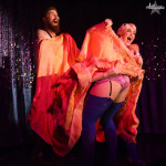 Tatianna TaTa, Dr Bones & Fannie Spankings performing at Burlesque on Broadway at Lannie's Clocktower Cabaret in Denver, Colorado.
