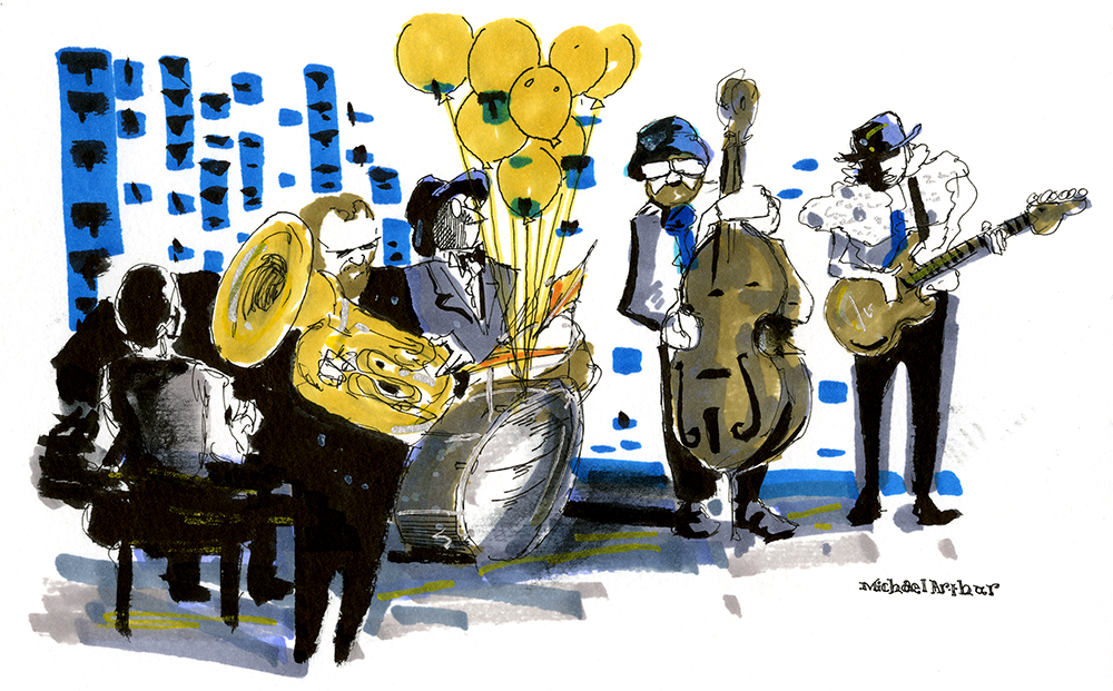 Pen and ink drawing of the Taylor Mac Band performing at Joe's Pub with a big bouquet of yellow balloons floating up from the percussion.