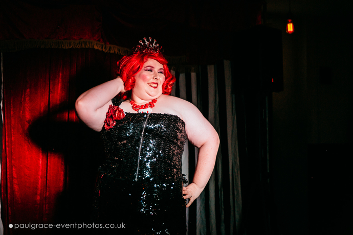 Tiana Topley performing at London burlesque show, Burlesque in Underland.