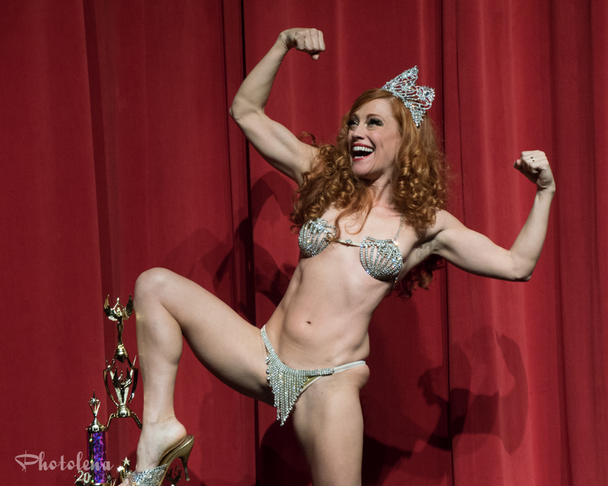 Trixie Little, Miss Exotic World 2015, Reigning Queen of Burlesque, onstage following her winning performance.