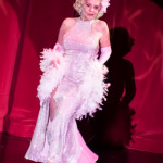 Val Valentine onstage at the 2016 Burlesque Hall of Fame Friday Night Legends Reunion Showcase.