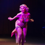 Burlesque Legend Val Valentine performing at the 2014 New York Burlesque Festival Golden Pastie awards burlesque show