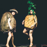 XO Sisters performing at the New York Burlesque Festival 2015 Sunday night Golden Pasties awards show at Highline Ballroom.