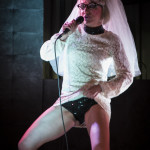 """Abigail Collins as """"Peggy Sued"""" performing at Goodtime Mama Jo King's Goodtime Cabhooray burlesque show at Blind Bee in London, April, 10, 2015"""