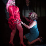 Goodtime Mama Jo King performing at her show, Goodtime Cabhooray burlesque show at Blind Bee in London, April, 10, 2015