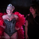 Liberty Pink and Little Evelyn Carnate onstage at Goodtime Mama Jo King's Goodtime Cabhooray burlesque show at Blind Bee in London, April, 10, 2015