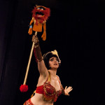 Beelzebabe performing at the 2015 Burlesque Blitz Muppet Burlesque Show at the Kraine Theater, New York