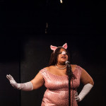 Christiana Joi performing at the 2015 Burlesque Blitz Muppet Burlesque Show at the Kraine Theater, New York