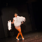 Sapphire Jones performing at the 2015 Burlesque Blitz Muppet Burlesque Show at the Kraine Theater, New York